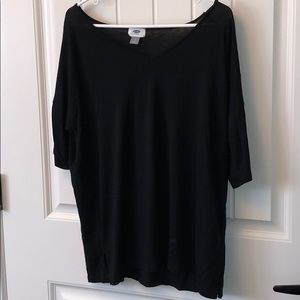 Old Navy Slouchy Black Half Sleeve Top w/ V Neck